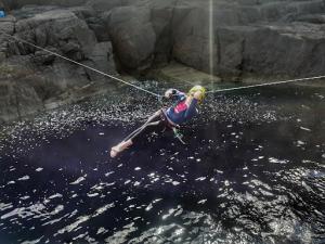 Tyrolean traverse old man of stoer rock climbing