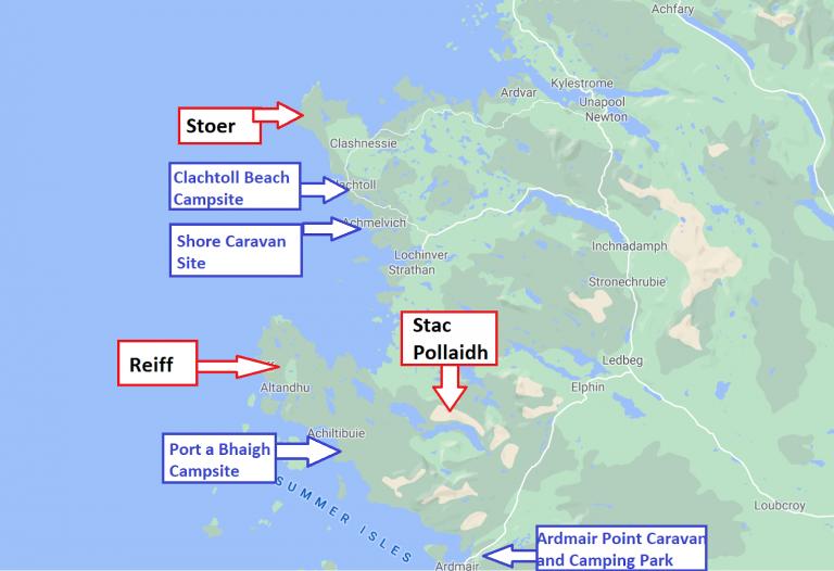 campsites in north west scotland map
